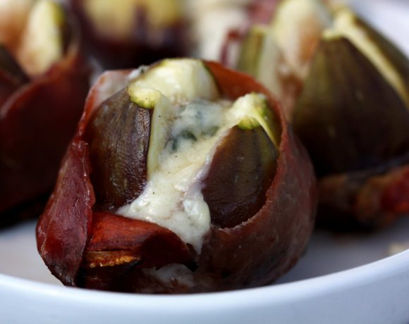 Grilled Fig: Stuffed with Blue Cheese and Wrapped in Prosciutto