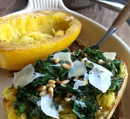 Lemon Kale Stuffed Spaghetti Squash