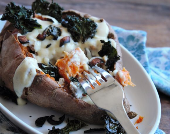 Roasted Sweet Potato with Cauliflower Cheese Sauce