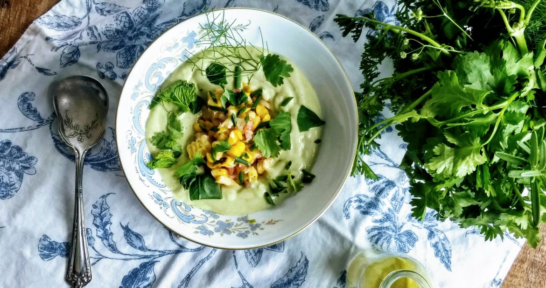 Poblano Avocado Soup with Grilled Corn Salad