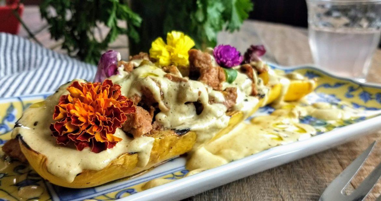 Chorizo Sausage-Stuffed Summer Squash
