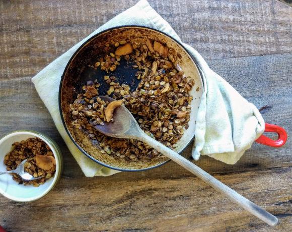 granola in a skillet