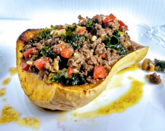 Curry Pepper Bison-Stuffed Butternut Squash