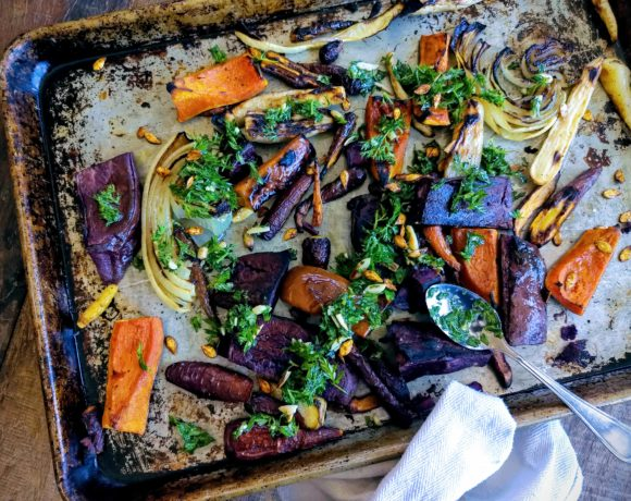 Roasted Vegetables with Almond-Carrot Top Crumble