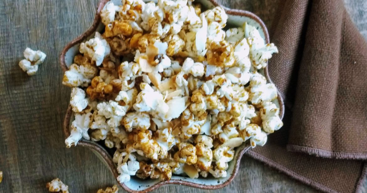 Caramel and Toasted Coconut Popcorn