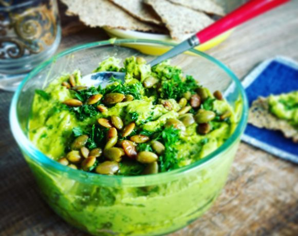 hummus with kale and lime