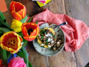 tulips with stuffed squash
