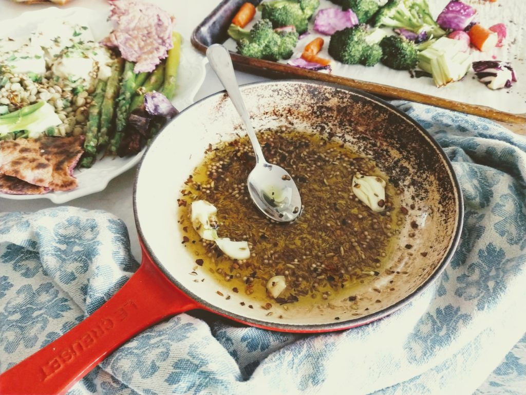 Cumin, coriander and fennel spiced oil.