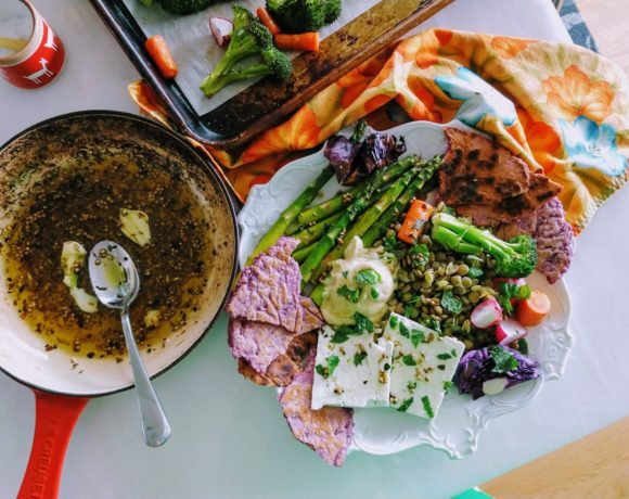 lentil platter with feta