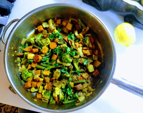 curry vegetables in a pan