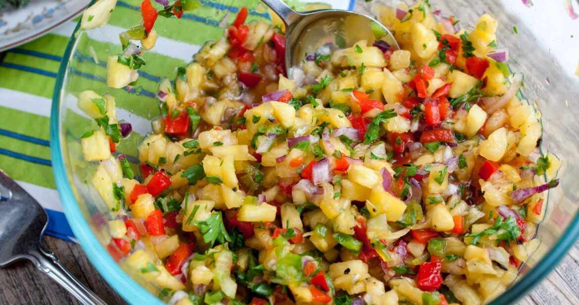 spicy pineapple red pepper salsa