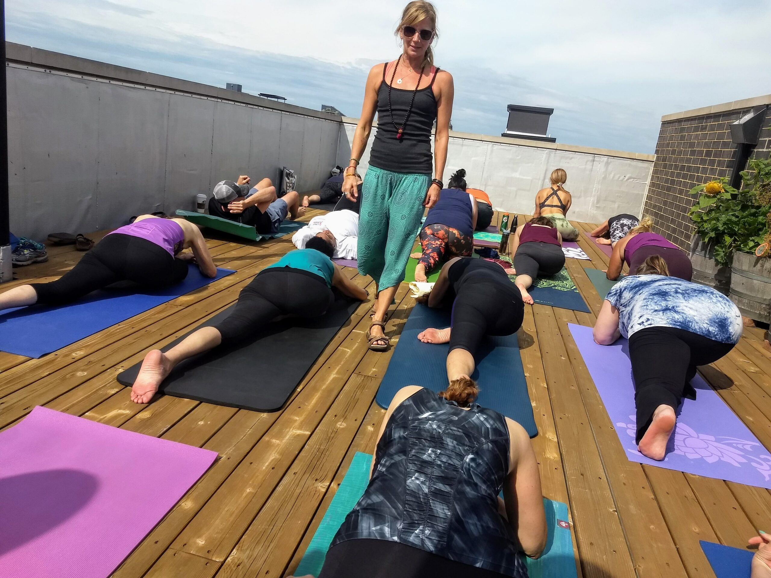 Yoga and brunch on the roof